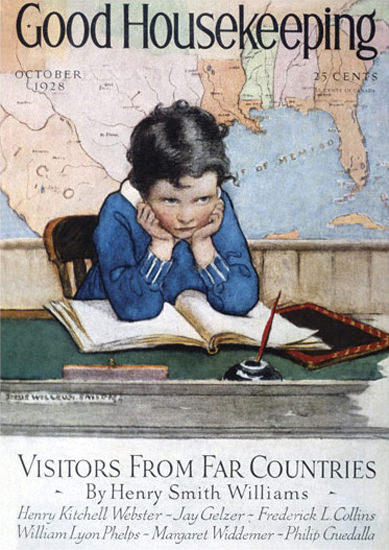 Good Housekeeping Copyright 1928 Kids Hard Day School | Vintage Ad and Cover Art 1891-1970