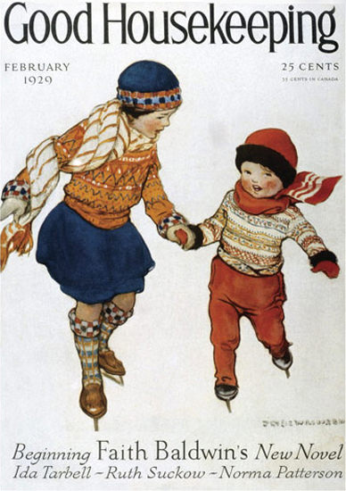 Good Housekeeping Copyright 1929 Kids Skating | Vintage Ad and Cover Art 1891-1970