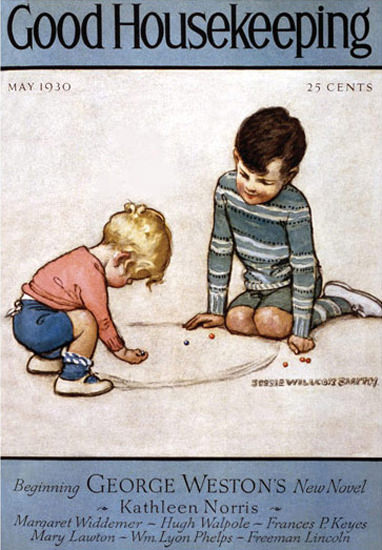 Good Housekeeping Copyright 1930 Boys Playing Marbles | Vintage Ad and Cover Art 1891-1970