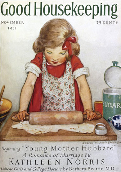 Good Housekeeping Copyright 1931 Little Girl And Dough | Vintage Ad and Cover Art 1891-1970