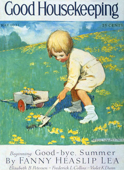 Good Housekeeping Copyright 1931 Little Girl Gardening | Vintage Ad and Cover Art 1891-1970