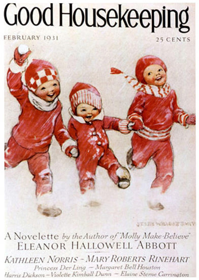 Good Housekeeping Copyright 1931 Little Kids In The Snow | Vintage Ad and Cover Art 1891-1970