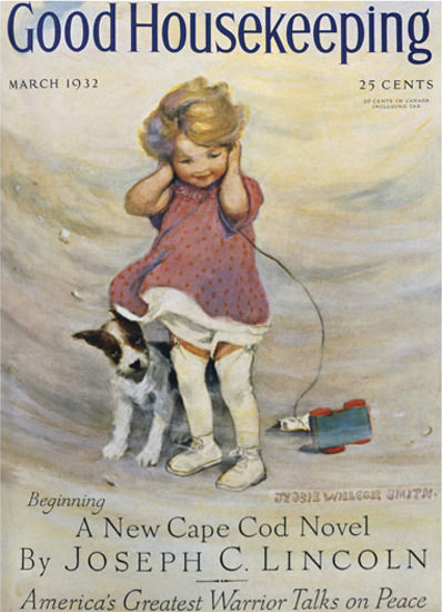 Good Housekeeping Copyright 1932 Girl And Dog In Storm | Vintage Ad and Cover Art 1891-1970