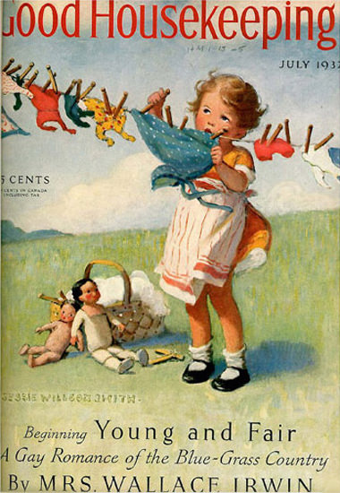 Good Housekeeping Copyright 1932 Girl At The Clothes Line | Vintage Ad and Cover Art 1891-1970
