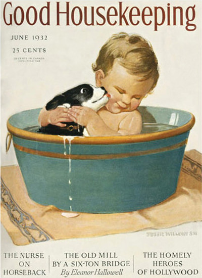 Good Housekeeping Copyright 1932 Kid Dog Having A Bath   Vintage Ad and Cover Art 1891-1970