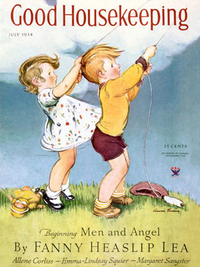 Good Housekeeping Copyright 1934 Kids Kiteflying | Vintage Ad and Cover Art 1891-1970