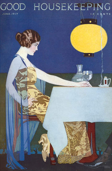 Good Housekeeping Cover Copyright 1917 Lady Restaurant Coles Phillips | Sex Appeal Vintage Ads and Covers 1891-1970