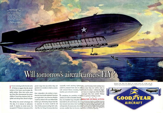 GoodYear Aircraft Aircaftcarriers Fly 1943   Vintage War Propaganda Posters 1891-1970