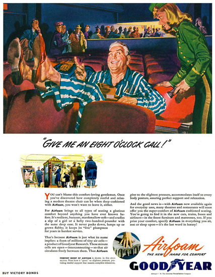 GoodYear Give Me An Eight OClock Call 1945 | Vintage Ad and Cover Art 1891-1970
