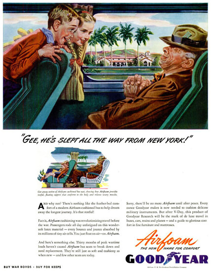 GoodYear Hes Slept All The Way 1944   Vintage Ad and Cover Art 1891-1970