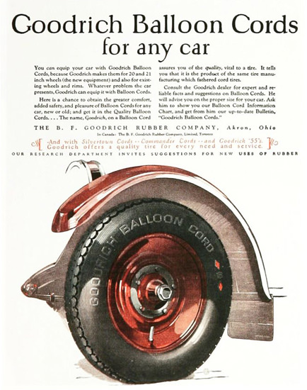 Goodrich Balloon Cords For Any Car 1920s | Vintage Ad and Cover Art 1891-1970