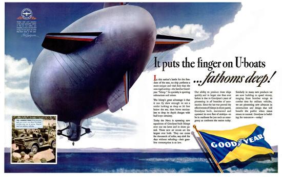 Goodyear Zeppelin Puts The Finger On U-Boats | Vintage War Propaganda Posters 1891-1970