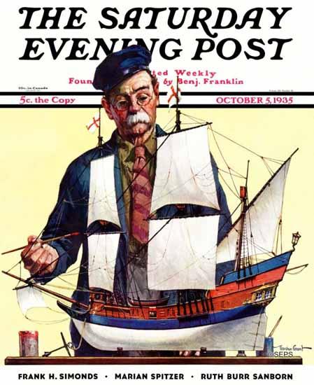 Gordon Grant Saturday Evening Post Model Ship 1935_10_05 | The Saturday Evening Post Graphic Art Covers 1931-1969