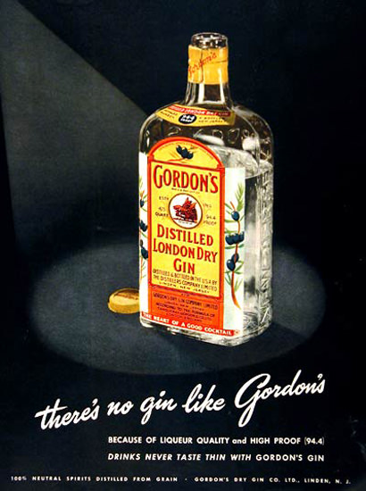 Gordons London Dry Gin 1950 Theres No Gin Like | Vintage Ad and Cover Art 1891-1970