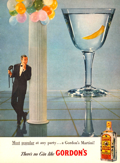 Gordons London Dry Gin A Gordons Martini 1958 | Vintage Ad and Cover Art 1891-1970