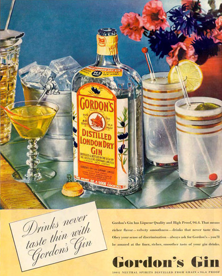 Gordons London Dry Gin Cocktails 1937 | Vintage Ad and Cover Art 1891-1970