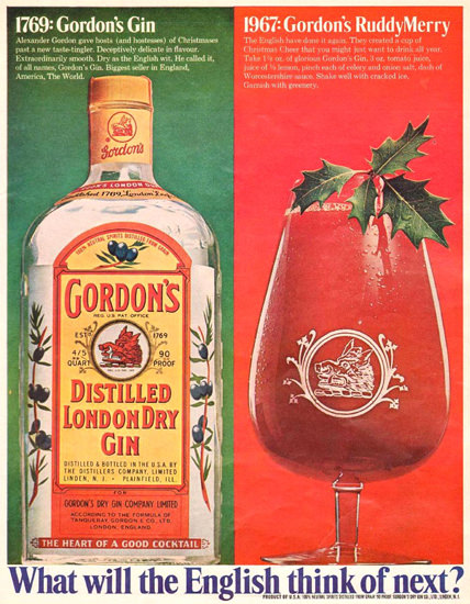 Gordons London Dry Gin Ruddy Merry 1967 | Vintage Ad and Cover Art 1891-1970