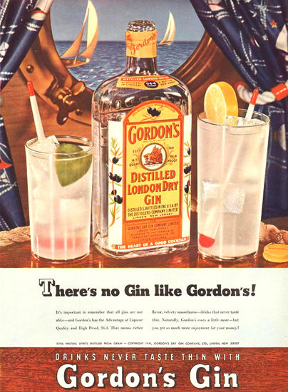 Gordons London Dry Gin Theres No Gin Like 1941 | Vintage Ad and Cover Art 1891-1970