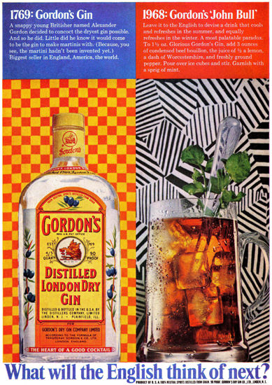 Gordons London Dry Gin What 1968 | Vintage Ad and Cover Art 1891-1970