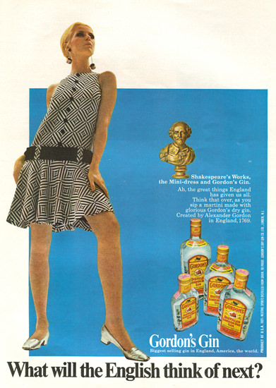 Gordons London Gin English Think Of Next 1967 | Sex Appeal Vintage Ads and Covers 1891-1970