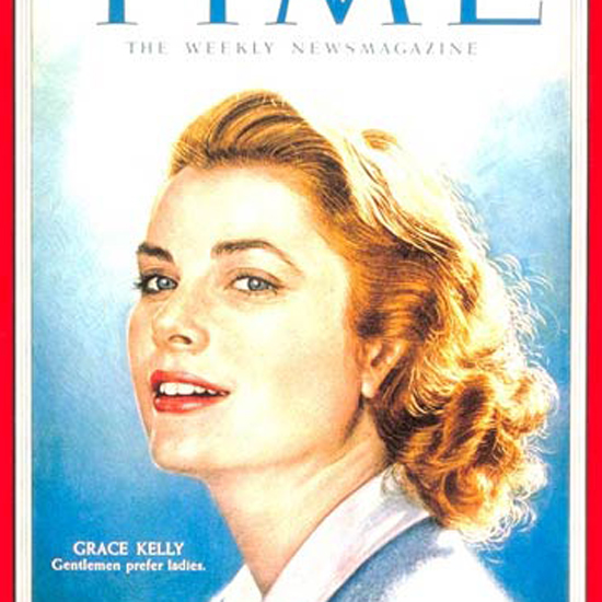 Grace Kelly Time Magazine 1955-01 by Boris Chaliapin crop | Best of Vintage Cover Art 1900-1970
