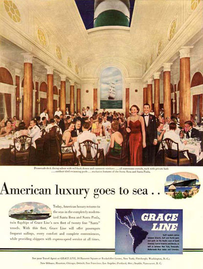 Grace Line American Luxury Goes To Sea 1946 | Vintage Travel Posters 1891-1970
