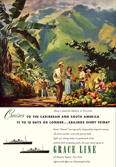 Grace Line Cruises Caribbean S America 1951 | Vintage Travel Posters 1891-1970