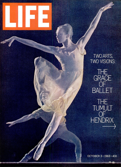 Grace of Ballet v Jimi Hendrix Tumult 3 Oct 1969 Copyright Life Magazine | Life Magazine Color Photo Covers 1937-1970