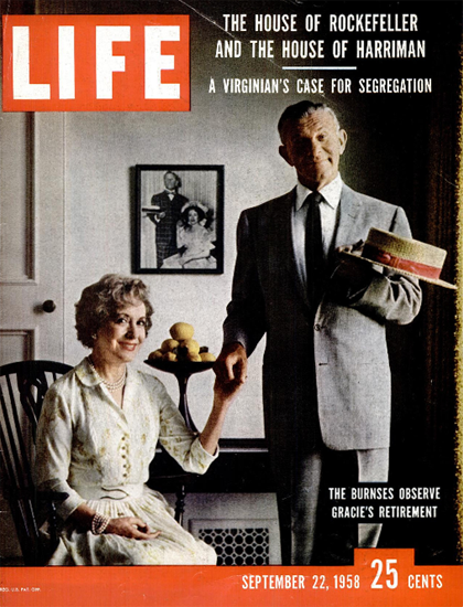 Gracie Allen and George Burns 22 Sep 1958 Copyright Life Magazine | Life Magazine Color Photo Covers 1937-1970