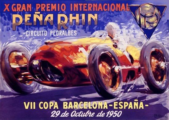 Gran Premio Int Pena Rhin Barcelona 1950 | Vintage Ad and Cover Art 1891-1970