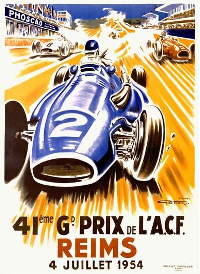 Grand Prix ACF Reims 1954 Geo Ham   Vintage Ad and Cover Art 1891-1970