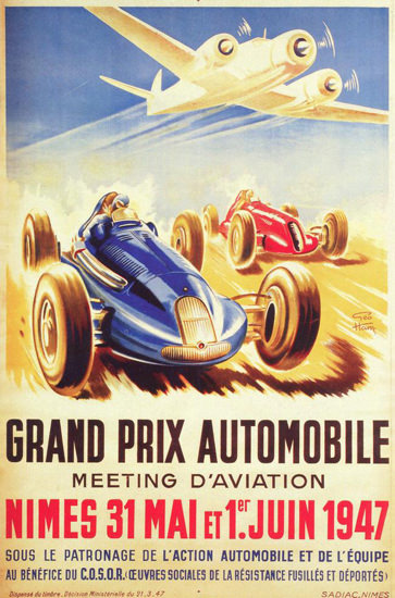 Grand Prix Automobile D Aviation Nimes 1947 | Vintage Ad and Cover Art 1891-1970