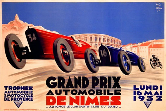 Grand Prix Automobile De Nimes 1932 | Vintage Ad and Cover Art 1891-1970