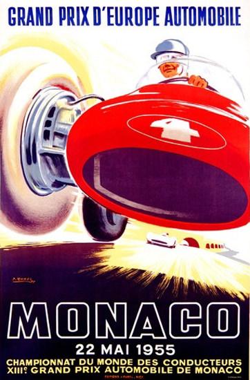 Grand Prix Automobile Monaco 1955 J Ramel | Vintage Ad and Cover Art 1891-1970