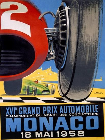 Grand Prix Automobile Monaco 1958 B   Vintage Ad and Cover Art 1891-1970