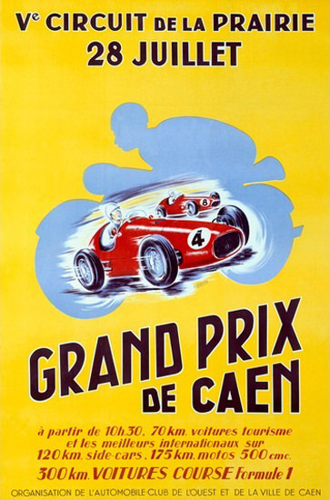 Grand Prix De Caen Circuit De La Prairie | Vintage Ad and Cover Art 1891-1970