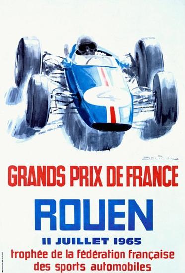 Grand Prix De France Rouen 1965 Michel Beligond | Vintage Ad and Cover Art 1891-1970