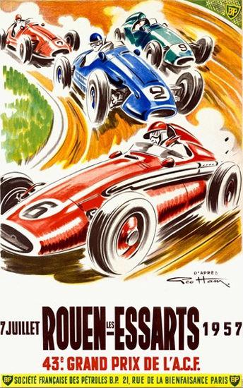 Grand Prix De France Rouen Essarts 1957 | Vintage Ad and Cover Art 1891-1970