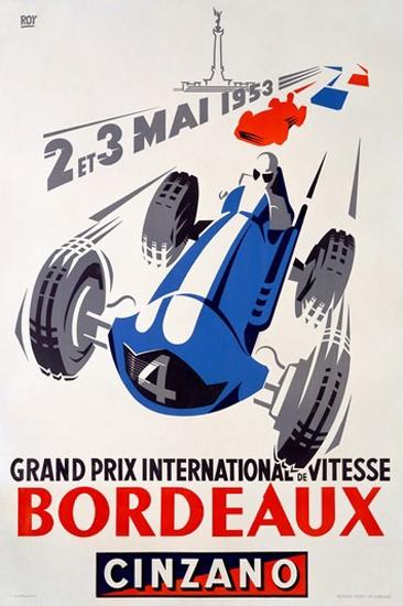 Grand Prix International Bordeaux 1953 Cinzano   Vintage Ad and Cover Art 1891-1970
