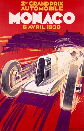 Grand Prix Monaco 1930 Robert Falcucci | Vintage Ad and Cover Art 1891-1970