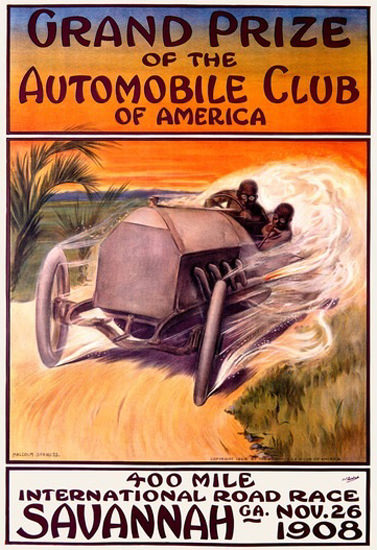 Grand Prize Automobile Club America 1908   Vintage Ad and Cover Art 1891-1970
