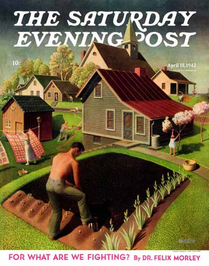 Grant Wood Saturday Evening Post Spring 1942_04_18 | The Saturday Evening Post Graphic Art Covers 1931-1969