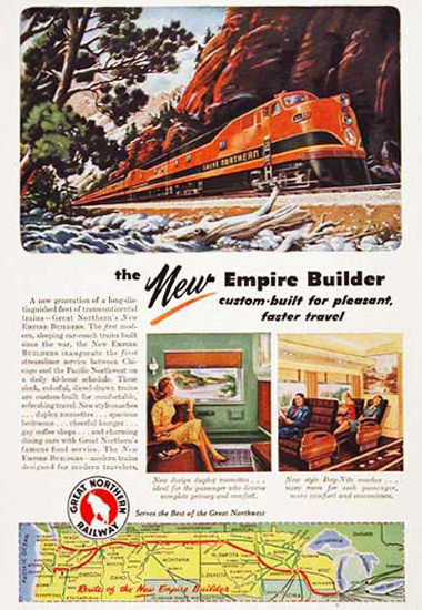Great Northern Railroad 1946 Empire Builder | Vintage Travel Posters 1891-1970