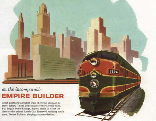 Great Northern Railway Empire Builder 1950s | Vintage Travel Posters 1891-1970