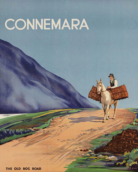 Great Southern Connemara Ireland Old Bog Road | Vintage Travel Posters 1891-1970