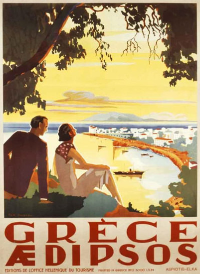 Greece Aedipsos 1934 | Vintage Travel Posters 1891-1970