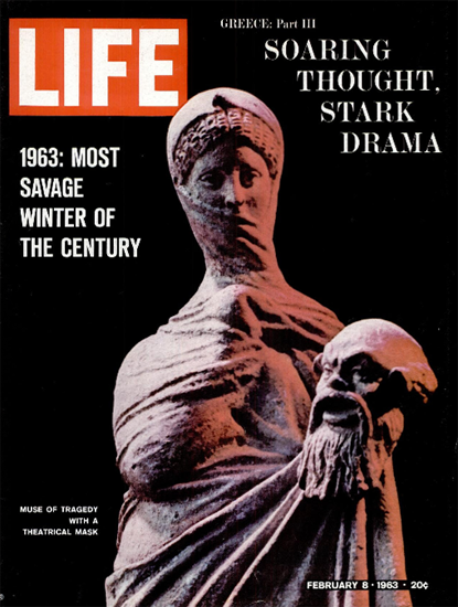Greece Muse of Tragedy with Mask 8 Feb 1963 Copyright Life Magazine | Life Magazine Color Photo Covers 1937-1970