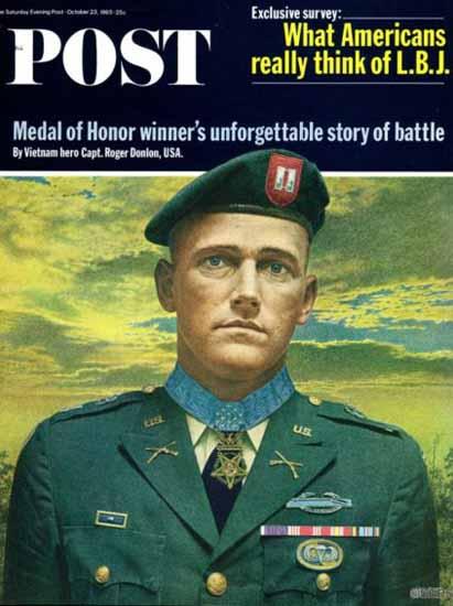 Green Beret Cap Roger Donlon Saturday Evening Post 1965_10_23   Vintage Ad and Cover Art 1891-1970