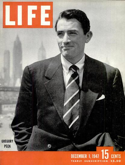 Gregory Peck 1 Dec 1947 Copyright Life Magazine | Life Magazine BW Photo Covers 1936-1970