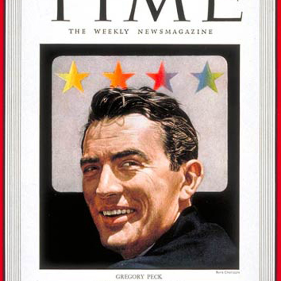Gregory Peck Time Magazine 1948-01 by Boris Chaliapin crop | Best of Vintage Cover Art 1900-1970